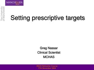 Setting prescriptive targets