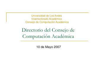 Directorio del Consejo de Computación Académica
