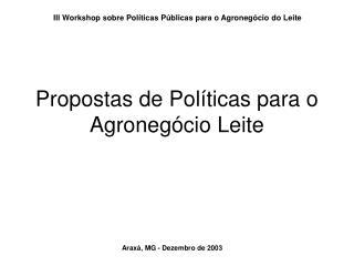 Propostas de Políticas para o Agronegócio Leite