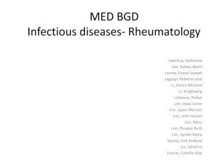 MED BGD Infectious diseases- Rheumatology