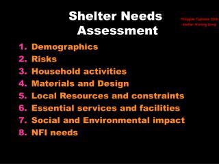 Shelter Needs  Assessment