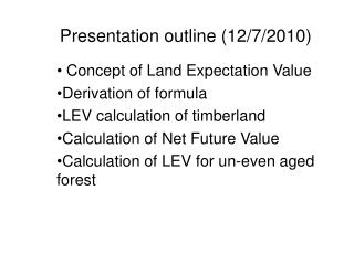 Presentation outline (12/7/2010)