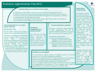 Evolutions r�glementaires Paie 2012