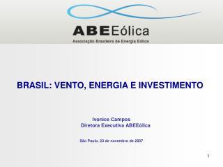 BRASIL: VENTO, ENERGIA E INVESTIMENTO Ivonice Campos Diretora Executiva ABEEólica