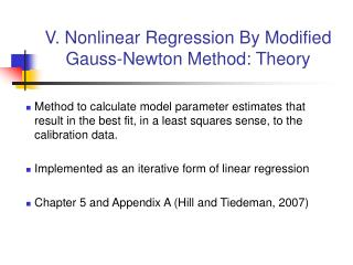 V. Nonlinear Regression By Modified Gauss-Newton Method: Theory