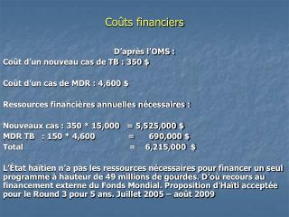 Coûts financiers