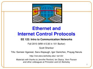 Ethernet and Internet Control Protocols