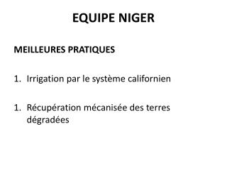 EQUIPE NIGER