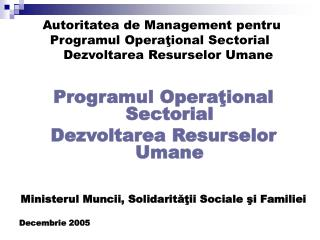 Programul Operaţional Sectorial Dezvoltarea Resurselor Umane