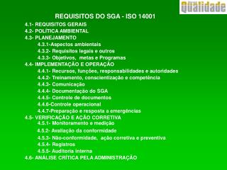 REQUISITOS DO SGA - ISO 14001