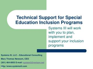 Technical Support for Special Education Inclusion Programs