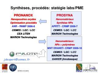 Synthèses, procédés: statégie labs/PME