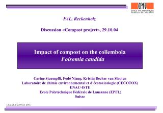Impact of compost on the collembola  Folsomia candida