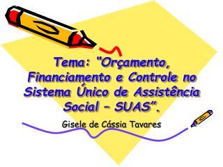 """Tema: """"Orçamento, Financiamento e Controle no Sistema Único de Assistência Social – SUAS""""."""