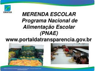 MERENDA ESCOLAR  Programa Nacional de Alimentação Escolar  (PNAE) portaldatransparencia.br