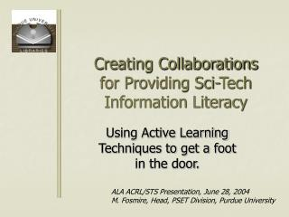 Creating Collaborations for Providing Sci-Tech Information Literacy
