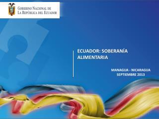ECUADOR: SOBERANÍA ALIMENTARIA
