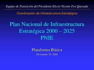 Plan Nacional de Infraestructura Estratégica 2000 – 2025 PNIE