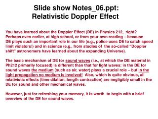 Slide show Notes_06: Relativistic Doppler Effect