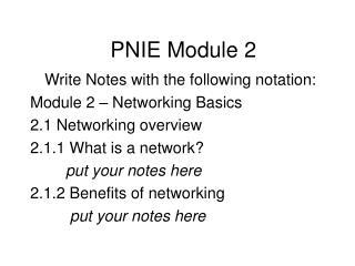 PNIE Module 2