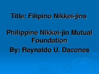 Title: Filipino Nikkei-jins
