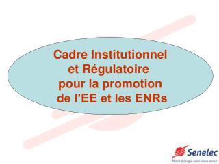 Cadre Institutionnel et Régulatoire  pour la promotion  de l'EE et les ENRs