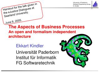 The Aspects of Business Processes An open and formalism independent architecture