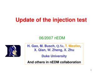 Update of the injection test