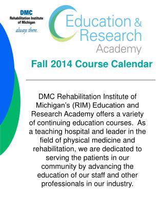 Fall 2014 Course Calendar