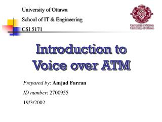 Introduction to  Voice over ATM