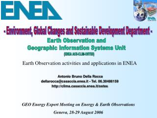 - Environment, Global Changes and Sostainable Development Department -