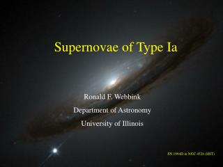 Supernovae of Type Ia