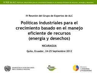 País:  Nicaragua Institución:  Ministerio de Fomento, Industria y Comercio (MIFIC)