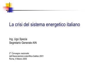 La crisi del sistema energetico italiano
