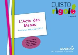 L'Actu des Menus Novembre-Décembre 2012