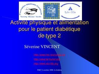 Activité physique et alimentation pour le patient diabétique  de type 2