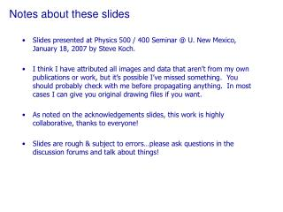 Notes about these slides