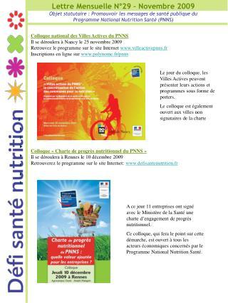 Lettre Mensuelle N°29 – Novembre 2009