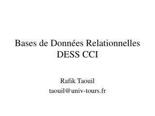 Bases de Données Relationnelles DESS CCI