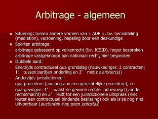 Arbitrage - algemeen