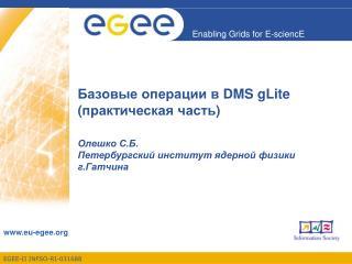 Базовые операции в  DMS gLite ( практическая часть )