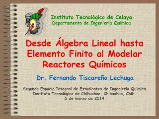 Desde Álgebra Lineal hasta Elemento Finito al Modelar Reactores Químicos