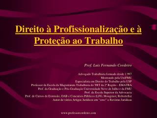 Direito � Profissionaliza��o e � Prote��o ao Trabalho