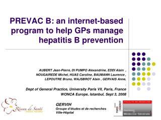 PREVAC B: an internet-based program to help GPs manage hepatitis B prevention