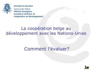 La coopération belge au développement avec les Nations-Unies