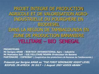 PROMOTEURS Mr Serigne AMAR  : NORTECH INTERNATIONAL Agro – industrie