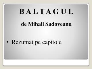 B A L T A G U L de Mihail Sadoveanu