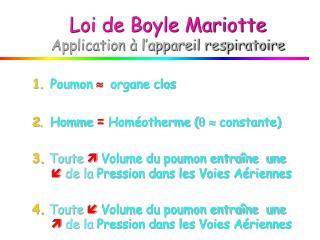 Loi de Boyle Mariotte Application à l'appareil respiratoire
