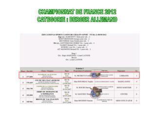 CHAMPIONNAT DE FRANCE 2012 CATEGORIE : BERGER ALLEMAND