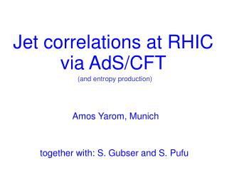 Jet correlations at RHIC via AdS/CFT
